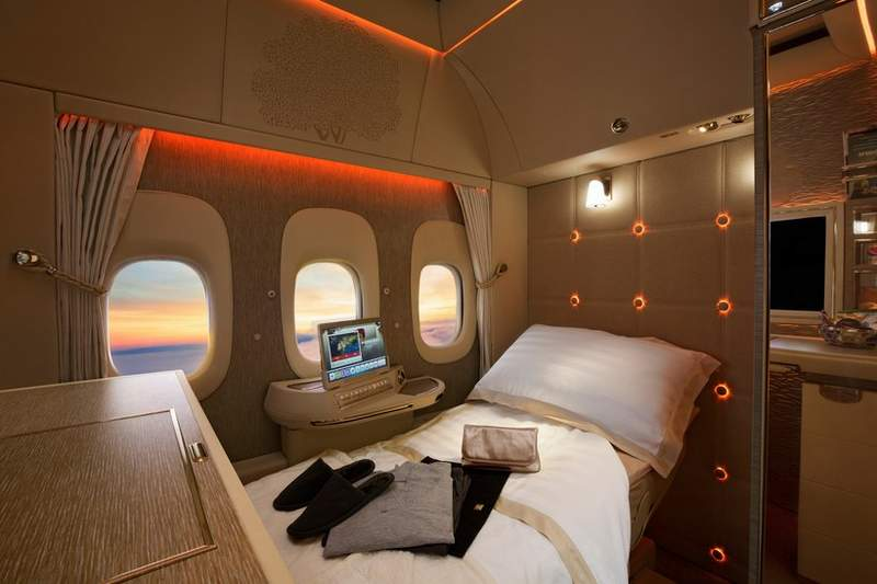 Emirates First Class fully flat bed